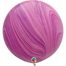"Pink and Violet Colours SuperAgate Marble 30"" Qualatex Decorator Latex Party Balloons"