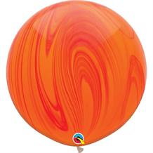 "Red and Orange Colours SuperAgate Marble 30"" Qualatex Decorator Latex Party Balloons"