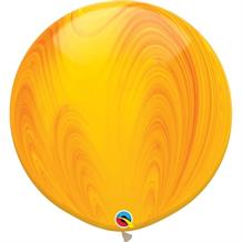 "Yellow and Orange Colours SuperAgate Marble 30"" Qualatex Decorator Latex Party Balloons"