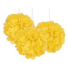 "Yellow 9"" Puff Ball Party Hanging Decorations"