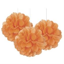 "Orange 9"" Puff Ball Party Hanging Decorations"