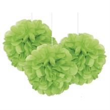 "Lime Green 9"" Puff Ball Party Hanging Decorations"