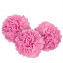 "Hot Pink 9"" Puff Ball Party Hanging Decorations"