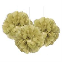 "Gold 9"" Puff Ball Party Hanging Decorations"
