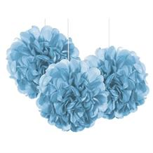 "Baby Blue 9"" Puff Ball Party Hanging Decorations"