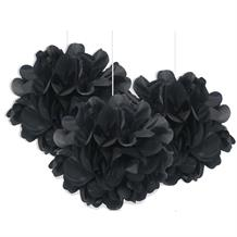 "Black 9"" Puff Ball Party Hanging Decorations"