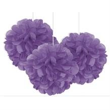 "Pretty Purple 9"" Puff Ball Party Hanging Decorations"