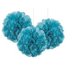 "Teal Blue 9"" Puff Ball Party Hanging Decorations"