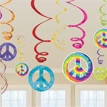 1960's Groovy Party Hanging Swirl Decorations
