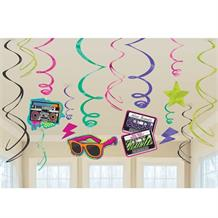 1980's Rad Party Hanging Swirl Decorations
