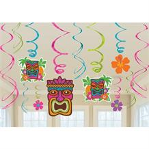 Hawaiian Tiki | Flowers Hanging Swirl Decorations