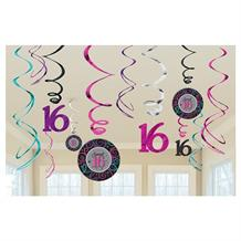 Sweet 16 Birthday Party Hanging Swirl Decorations