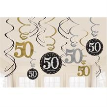 Gold Sparkle 50th Birthday Hanging Swirl Decorations