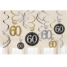 Gold Sparkle 60th Birthday Hanging Swirl Decorations