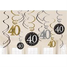 Gold Sparkle 40th Birthday Hanging Swirl Decorations