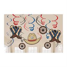 Cowboy Western Party Hanging Swirl Decorations