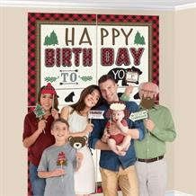 Little Lumberjack Bear Scene Setter Decoration with Photo Props