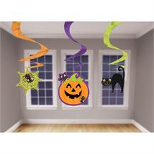 Halloween Pumpkin, Spider and Cat Party Hanging Swirl Decorations