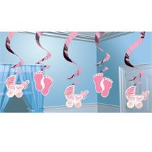 Baby Girl Baby Shower Party Hanging Swirl Decorations