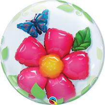Flower | Butterfly Qualatex Double Bubble Party Balloon