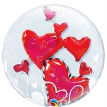 "Love Floating Hearts 24"" Qualatex Double Bubble Party Balloon"