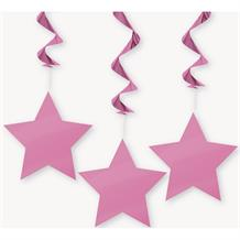 Hot Pink Stars Party Hanging Swirls