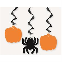 Pumpkin and Spider Party Hanging Swirl Decorations