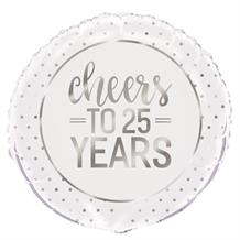 "Cheers to 25 Years Wedding Anniversary Party 18"" Foil 