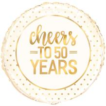 "Cheers to 50 Years Wedding Anniversary Party 18"" Foil 