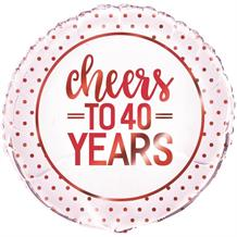 "Cheers to 40 Years Wedding Anniversary Party 18"" Foil 