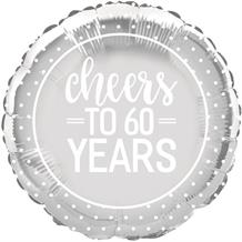 "Cheers to 60 Years Wedding Anniversary Party 18"" Foil 