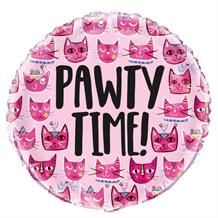 "Cat Pink Pawty Time 18"" Foil 