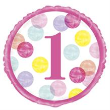 "Pink Dots 1st Birthday 18"" Foil 