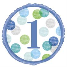 "Blue Dots 1st Birthday 18"" Foil 