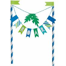 Blue and Green Dinosaur Roar Bunting Cake Topper | Decoration