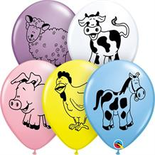 "Pastel Coloured Farm Animals 11"" Qualatex Latex Party Balloons"