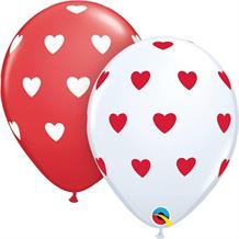"Red and White Hearts 11"" Qualatex Latex Party Balloons"