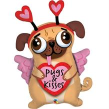 Pugs and Kisses | Puppy Giant Foil | Helium Balloon