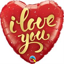 "I Love You Gold Script 18"" Foil 