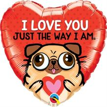"I Love You Pug | Puppy 18"" Foil 