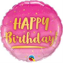 "Happy Birthday Pink and Gold 18"" Foil 