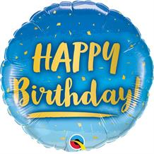 "Happy Birthday Blue and Gold 18"" Foil 