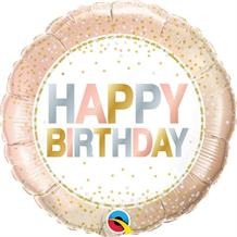 "Metallic Pastel Dots Happy Birthday 18"" Foil 