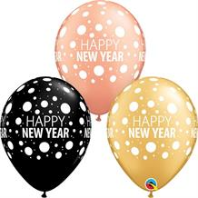 "Happy New Year Confetti Dots 11"" Qualatex Latex Party Balloons"
