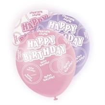 Pink Glitz Happy Birthday Party Latex Balloons-Balloons