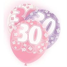 Pink Glitz 30th Birthday Party Latex Balloons-Balloons