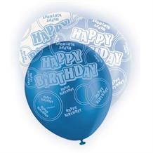 Blue Glitz Happy Birthday Party Latex Balloons