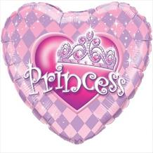 "Princess Tiara Pink Heart 18"" Foil 