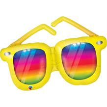 Rainbow Striped Sunglasses Shaped Giant Foil | Helium Balloon