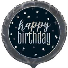 "Black and Silver Holographic Happy Birthday 18"" Foil 